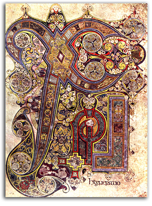 Image of page from the Book of Kells.