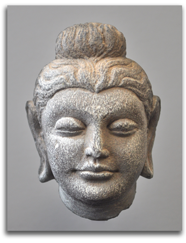 Image of carved Buddha head.