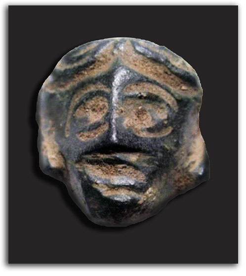 Image of bronze warrior head.