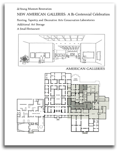 Brochure for De Young Museum floor plan and renovation circa 1976
