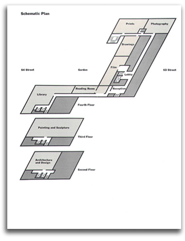 Image of schematic for MOMA floorplan, 1968.