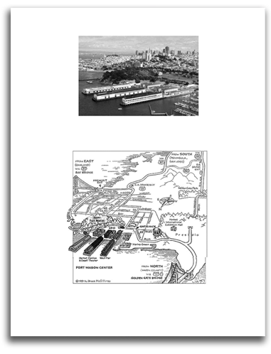 Brochure image showing aerial of Fort Mason and locale map placing it in SF